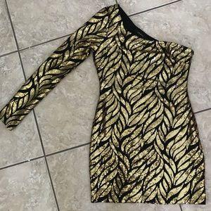 Gold & Black Sequin Cocktail Dress